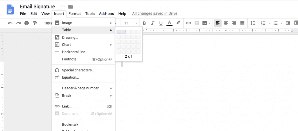 Using a Table to Add Signature to Gmail Email