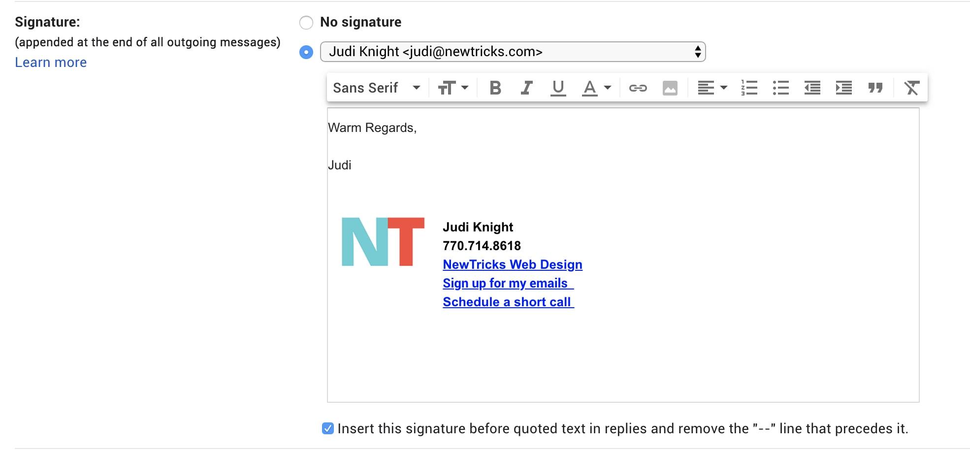 Adding a Signature to Gmail