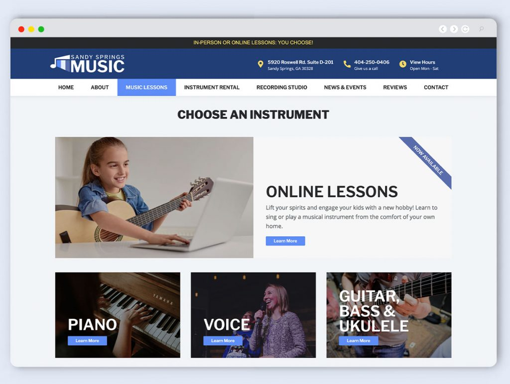 Music Store Web Design