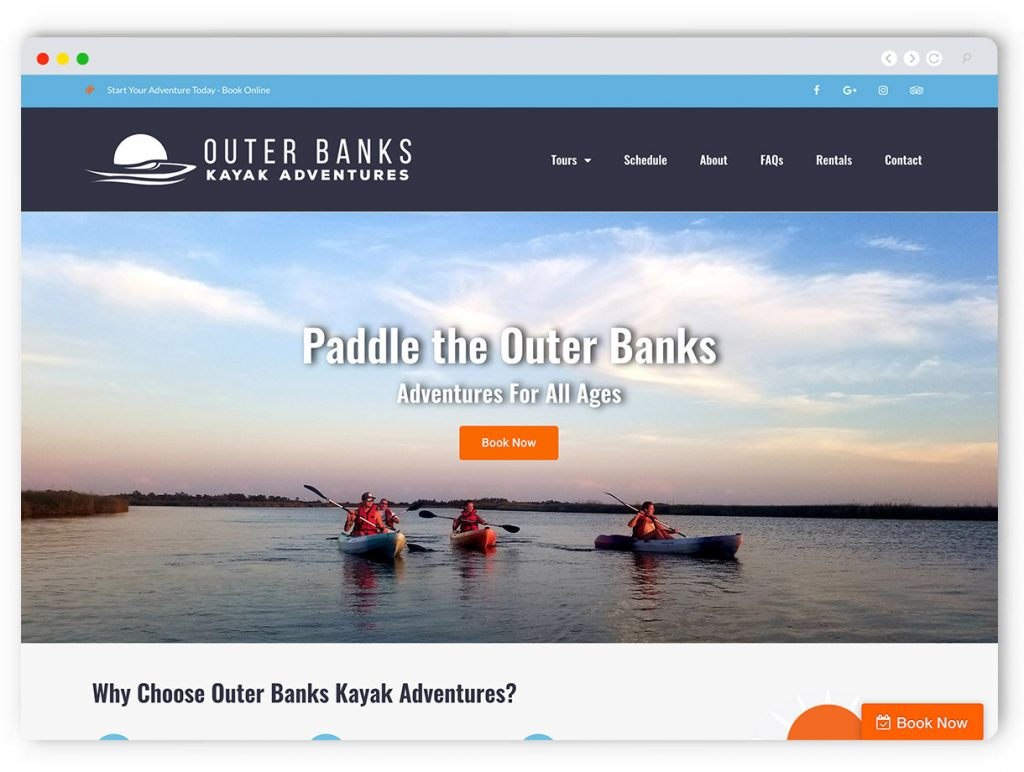 Adventure Website Design